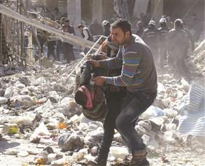 シリア:樽型爆弾による多数の死...